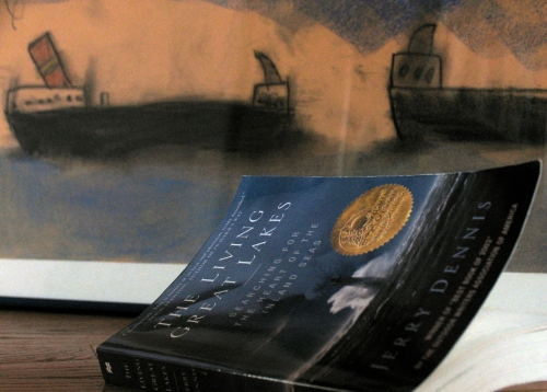 A good read and a charcoal drawing of freighters by our son Graham when he was younger