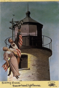 Photo collage artist Mary Rose made this postcard of Beaver Island lighthouse special