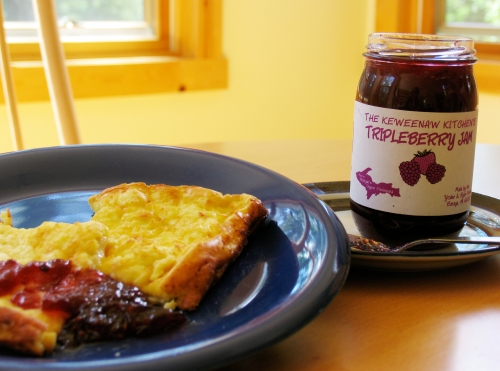 A breakfast of pannukakku with tripleberry jam at Blue Skies