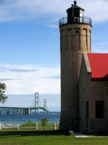 A view of the Mackinac Bridge from Old Mackinac Lighthouse, Mackinaw City