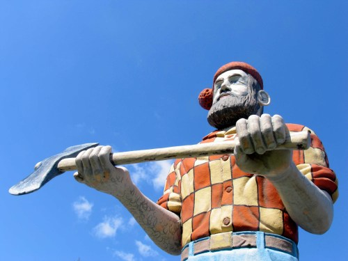 Paul Bunyan greets visitors at the information center in Manistique