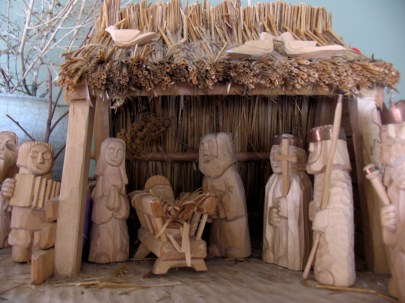Polka Christmas? This Nativity scene from Poland includes a band with a squeeze box (left)