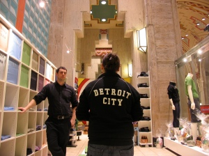An employee models a popular Pure Detroit hoodie