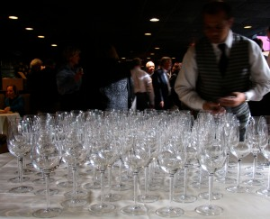 Tasting glasses at the ready at a Michigan Wine Showcase; this year's event is Monday, April 15