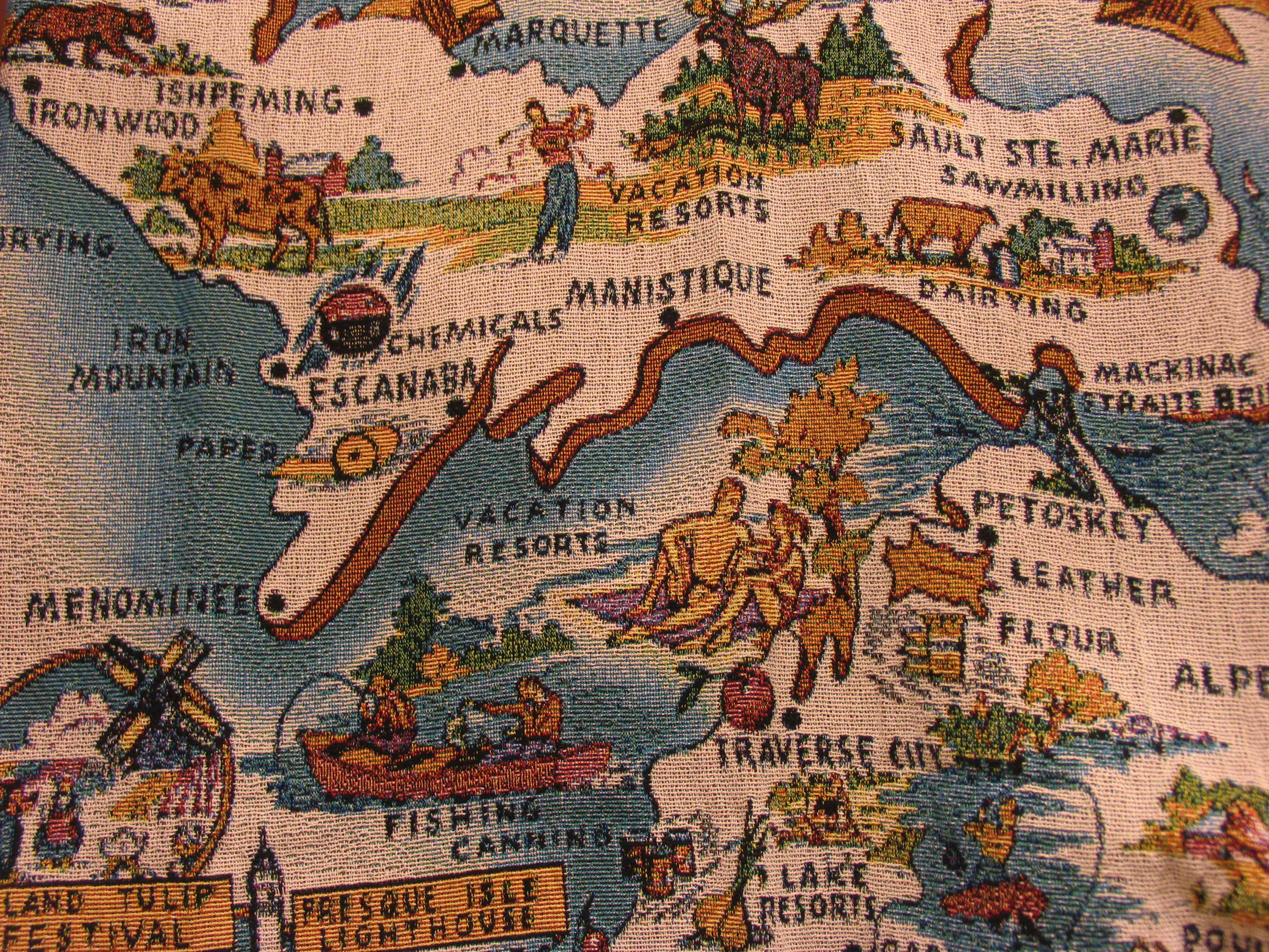 A michigan map you can snuggle under great lakes gazette a detail of the map of michigan throw blanket gumiabroncs Gallery