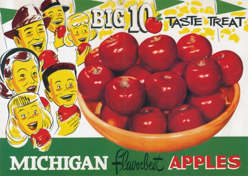 Vintage postcard advertising Michigan apples