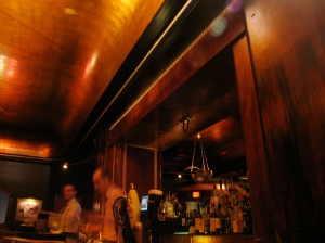 The ceiling at Cliff Bell's is made of curved wood