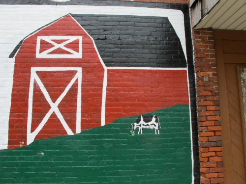 Detail from a mural for the annual Dairy Festival, held in early July
