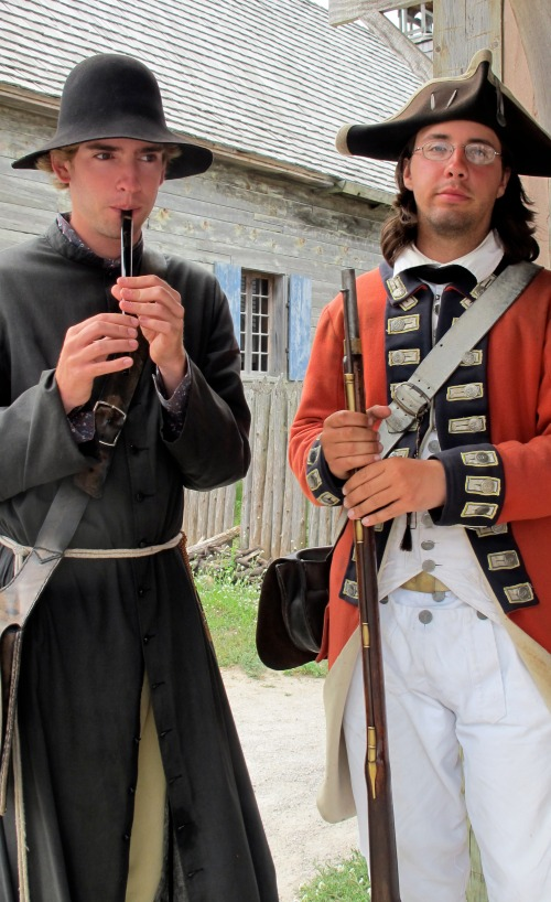 Fr Pierre Gebault (aka college student A.J.) and Jonathan, a British Private in the King's Eighth, recreate a peaceful moment between the fort's French and English inhabitants