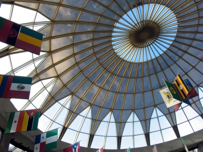 The Wright Museum rotunda ceiling soars 65 feet