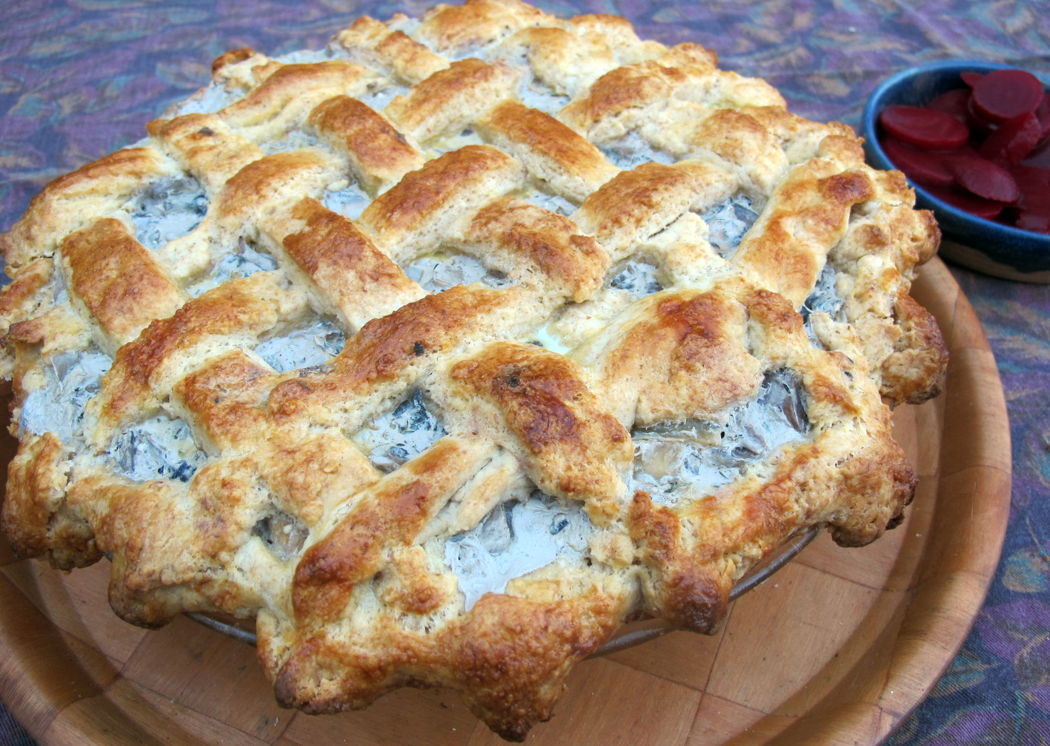 In this photo the Finnish sienipiirakka , mushroom pie, has an other ...