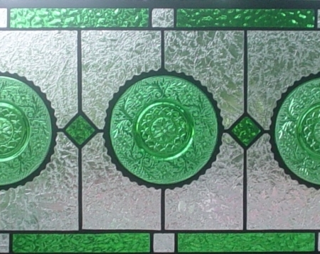 Barbara Liptak of Boon incorporates vintage glass in her stained glass pieces. This transom is $125.00