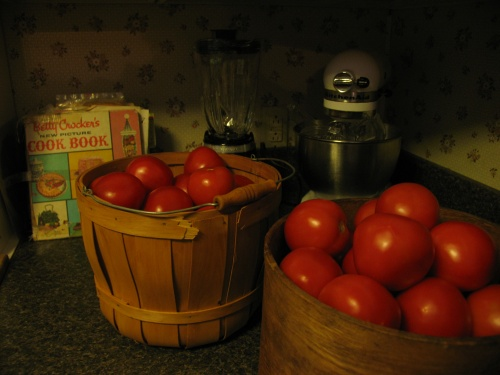 Tomatoes for canning at Bygone Basics