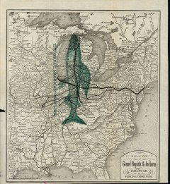 "This map for the railway known as ""the fishing line"" depicts the extinct grayling that once thrived in Michigan rivers"