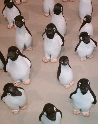 Mini penguin sculptures
