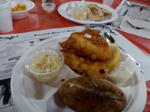 A Lenten meal of fried fish, baked potato and Cole slaw at Sweetest Heart of Mary Church