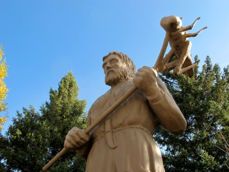 A tribute to St. Urho stands in a park in Menagha, Minnesota