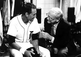 Tiger broadcasting legend Ernie Harwell interviews Roy Scheider in Tiger Town